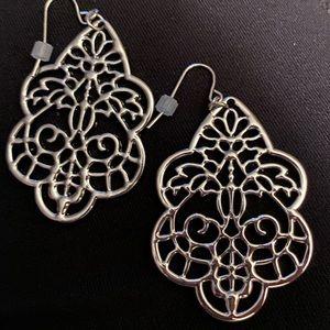 Silver tone filigree earrings